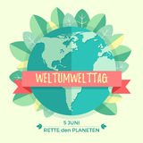 World environment day concept with mother earth globe and green leaves on beige background. With an inscription. In German Weltumwelttag, Rette den Planeten Stock Photography