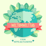 World environment day concept with mother earth globe and green leaves on beige background. With an inscription. In German Weltumwelttag, Rette den Planeten Stock Photos