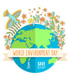 World environment day concept with mother earth globe and green leaves. And flovers on white background. With an inscription Save the Planet, 5 June. Vector Royalty Free Stock Image