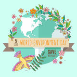 World environment day concept with mother earth globe and green leaves and flowers on mint background. With an. Inscription Save the Planet, 5 June. Vector Royalty Free Stock Images