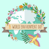 World environment day concept with mother earth globe and green leaves and flowers on mint background. With an. World environment day concept with mother earth Stock Photography