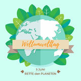World environment day concept with mother earth globe and green leaves on mint background. With an inscription in German. Weltumwelttag, Rette den Planeten Royalty Free Stock Photography