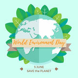 World environment day concept with mother earth globe. And green leaves on mint background. With an inscription Save the Planet, 5 June. Vector Illustration Royalty Free Stock Photography