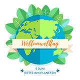 World environment day concept with mother earth globe and green leaves. On white background. German translation of the inscription: World Environment day. Save Royalty Free Stock Image