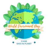 World environment day concept with mother earth globe and green leaves. On white background. With an inscription Save the Planet, 5 June. Vector Illustration Stock Photos