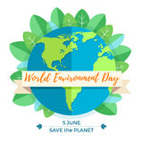World environment day concept with mother earth globe and green leaves. On white background. With an inscription Save the Planet, 5 June. Vector Illustration Stock Photo