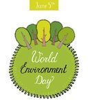World environment day concept with trees. Green Eco Earth. Vector illustration. Concept Vector illustration with hand drawing elements stock illustration