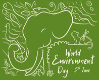 World Environment Day Design with Animals in Line Style, Vector Illustration. Elephant and other animals in-line style to celebrate World Environmental Day Royalty Free Stock Image