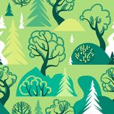 World Environment Day. Earth Day. Day of the forest. Ecological background. A seamless pattern with deciduous and coniferous trees. Hills and bushes. Vector vector illustration