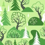 World Environment Day. Earth Day. Day of the forest. Ecological background. A seamless pattern with deciduous and coniferous trees. Hills and bushes. Vector Stock Photography
