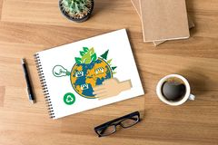 World environment day Earth globe Ecology tree and green leaf  w Royalty Free Stock Photos