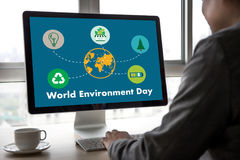 World environment day Earth globe Ecology tree and green leaf  w Royalty Free Stock Images