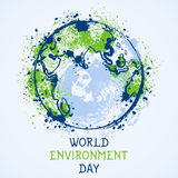 World environment day. Earth globe with splashes in watercolor style art. Concept design for banner, greeting card, t-shirt, print, poster. Vector Stock Photos