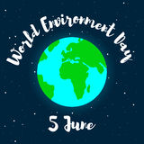 World Environment Day-1-01. The Earth with lettering on a background of open space. World Environment Day. 5 June. Connecting people to nature. Vector royalty free illustration