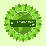 World Environment Day Earth Planet Globe Green Leaves. Flat Vector Illustration Royalty Free Stock Images