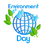 World Environment Day Earth Planet Globe Water Drops Leaves. Flat Vector Illustration Stock Photography