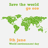 World environment day - fifth june, save the world illustration. World environment day - fifth june - save the world - illustration of a world map with green vector illustration