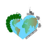 World environment day. A globe in the shape of a heart. The design of the globe with a combination of nature and. Urbanization. Green caterpillar, industry and Stock Images