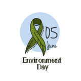 World environment day green ribbon as a leaf. Vector green ribbon as a leaf on a white background. Royalty Free Stock Photography