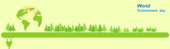 World Environment Day Green Silhouette Forest. Banner Flat Vector Illustration stock illustration