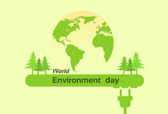 World Environment Day Green Silhouette Forest Earth Planet Globe Royalty Free Stock Photography