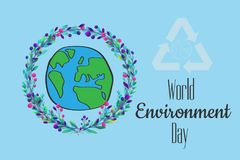 World environment day hand lettering card on blurred background. Stock Photos