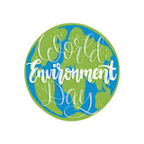 World environment day hand lettering for cards, posters etc. Vector calligraphy on Earth globe background. World environment day hand lettering for cards Stock Photos