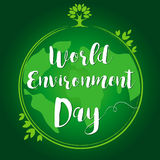 World Environment Day hand lettering globe leaf card. World environment day lettering banner on green background. Vector illustration Royalty Free Stock Photos