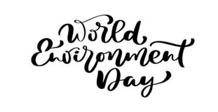 World environment day hand lettering text for cards, posters etc. Vector calligraphy illustration on white background.  vector illustration