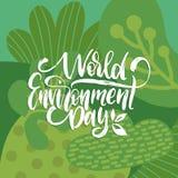 World Environment Day handwritten phrase on decorative leaves background. Vector illustration for greeting card etc. World Environment Day handwritten phrase on Stock Image