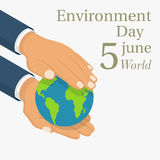 World Environment Day. 5 june. Hands holding the earth globe. Posters, greeting card, ecology nature. Vector illustration isometric flat design. Isolated on Royalty Free Stock Images