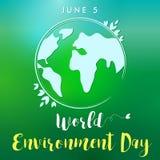 World Environment Day lettering globe banner. World environment day hand drawn lettering design card on green blurred background. Vector illustration Stock Image