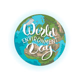 World environment day lettering with planet Royalty Free Stock Images