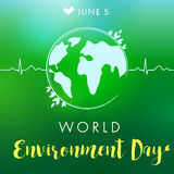 World Environment Day lettering pulce globe banner. World environment day hand drawn lettering design card on green blurred background. Vector illustration Royalty Free Stock Photos
