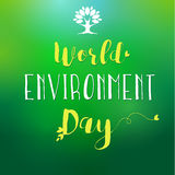 World Environment Day lettering tree and leaf card Royalty Free Stock Photos
