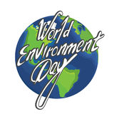 World Environment Day logo. Concept with high detailed cartoon Earth on background Royalty Free Stock Photo