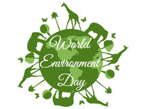 World Environment Day, planet earth with animals, environment day, environment,  go green. Royalty Free Stock Photos