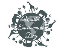 World Environment Day, planet earth with animals, environment day Royalty Free Stock Photo