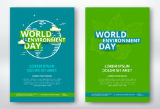 World environment day. Poster design template.  flyer with leaves and earth planet. Vector vector illustration