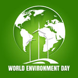 World Environment Day. Poster. Earth globe and environmentally friendly power making turbines. Ecological concept. Vector illustration royalty free illustration