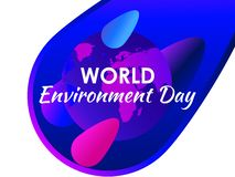 World environment day. Purple gradient of planet earth, modern eco poster. Colorful liquid shape. Vector. Illustration royalty free illustration