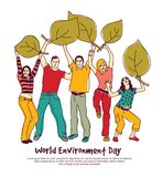 Happy group people world environment day leaf isolate. World environment day sign leaf people isolate. Color vector illustration. EPS8 Royalty Free Stock Image