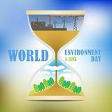World environment Day. The solution to the pollution problems of the ecosystem. Comfortable living environment. Impact. Hourglass on blurred background. Stylized Royalty Free Stock Photography