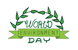 World environment day text card with leaves Stock Photos