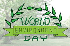 World environment day text card with leaveson the blur backgroun Royalty Free Stock Images