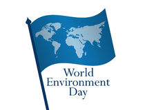 World Environment Day 5th june. Flag with world map on white background. Vector Royalty Free Stock Photos
