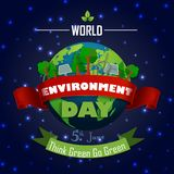 World environment day 5th june with Red and green Ribbons on the light blue background Royalty Free Stock Images