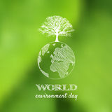 World environment day vector card, poster on blur green backgrou Royalty Free Stock Photography