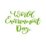 World environment day vector hand lettering. Holiday typography. Great for banner, poster, card Stock Photography