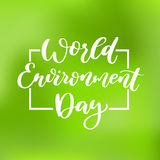 World environment day vector hand lettering. Holiday typography. Great for banner, poster, card Stock Photo